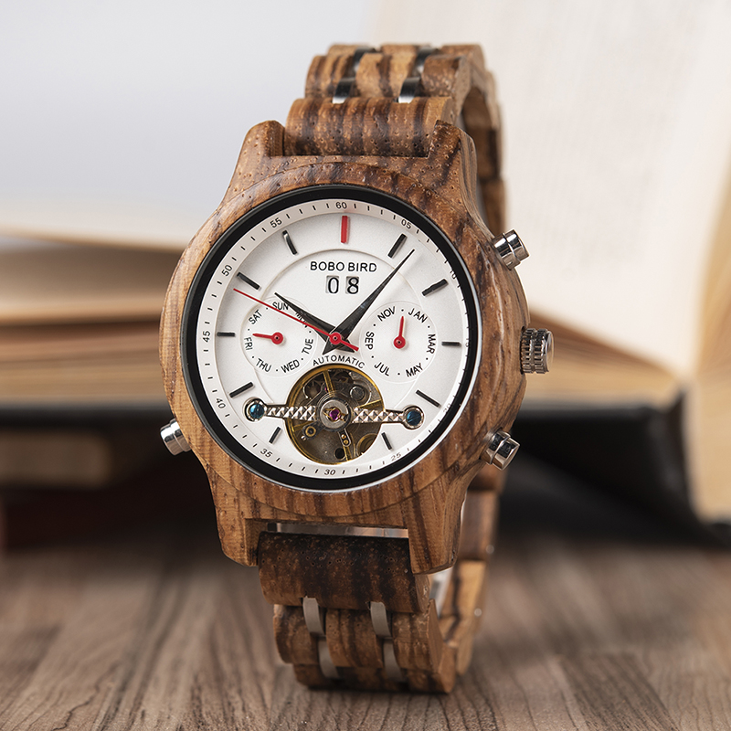 BOBO BIRD Automatic Mechanical Watches Men Wooden Luxury Watch with Calendar Display Multifuctions relogios automaticos mecanic 3