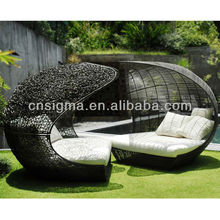 2017 Design Furniture PE Rattan Synthetic Wicker daybed Outdoor Sun Lounge