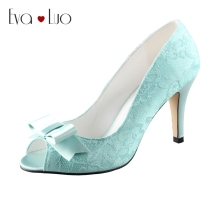 CHS453 DHL Express Custom Handmade Peep Toe Bow Mint Green Lace Bridal Wedding Shoes High Heel Women Shoes Dress Pumps Big Size