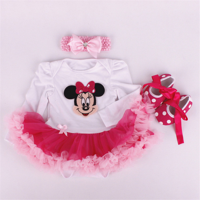 WENDYWU Newborn Cotton Baby Romper Casual Long Sleeve Baby Clothing Headbands Dress Shoes 3 pieces Mickey Minnie Rose suit<br><br>Aliexpress