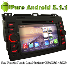 Pure Android 5.1 Car DVD Gray color for Toyota Prado Land Cruiser 120 2003 2004 2005 2006 2007 2008 2009 With Quad Core 2G ROM