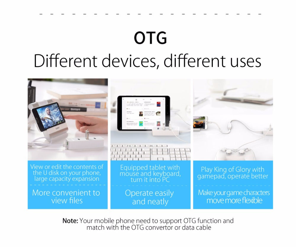 ORICO 4 Ports USB 2.0 HUB Micro USB and Type-A Input for Laptop Computer Phone Tablet Ultrabook 15CM Dada Cable Portable Black 8