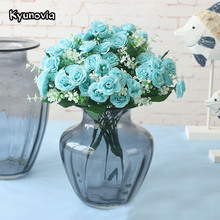 Kyunovia Austin 15 heads Autumn Fake Silk Flowers Leaf 6 Colors Artificial Rose Wedding Party Home Decor Flower Arrangement KY31(China)