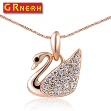 GR.NERH Fashion Austrian Crystal Swan Pendent Necklace For Women Gold-color Women Jewelry(China)