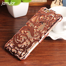 JAMULAR Artistic Hollow Flower Plating Phone Case For iPhone 6 6s Plus Plastic Back Cover for iPhone 7 8 Plus Cases Shell(China)