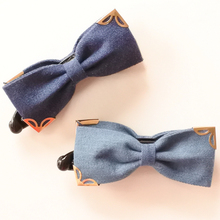 Denim Fabric Hair Bow With Butterfly Corner Metal Banana Clip Solid Color Bow Barrette For Women Headwear Girls Hair Accessories