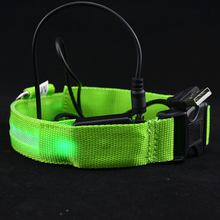 Dogs Collar Safety Pets Dog LED Flashing Light USB Charging Nylon Collar Adjustable
