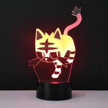 3D LED USB Cat Night Light New Interesting Lovely Tiger Shape 7 Colors Change Bedroom Table Lamp Home Decor Lighting Travel Gift(China)