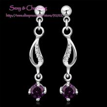 E512 High Quality! Wholesale Silver Plated CZ Zircon Crystal Fashion Jewelry Ear Studs  Earrings 4 Colors Select