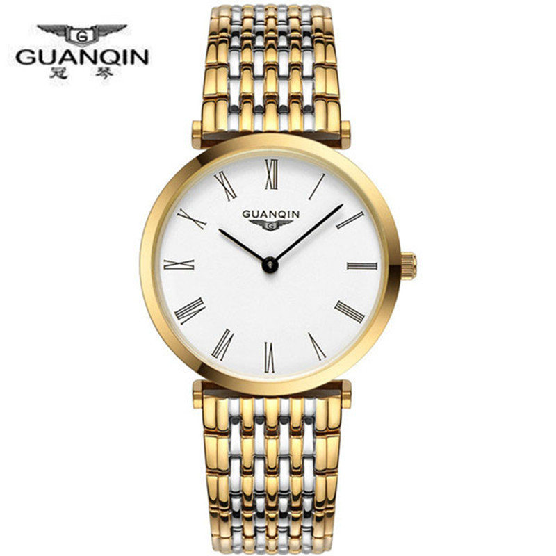 Watches Men Luxury Brand GUANQIN Fashion Mens Quartz Watch relogio masculino Waterproof full steel Gold Watches relojes clock<br>