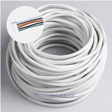 HOMSECUR 6 Core 30m White Flexible Copper Cable With 2 Backup Cable Connectors For Video Entry Security System(China)