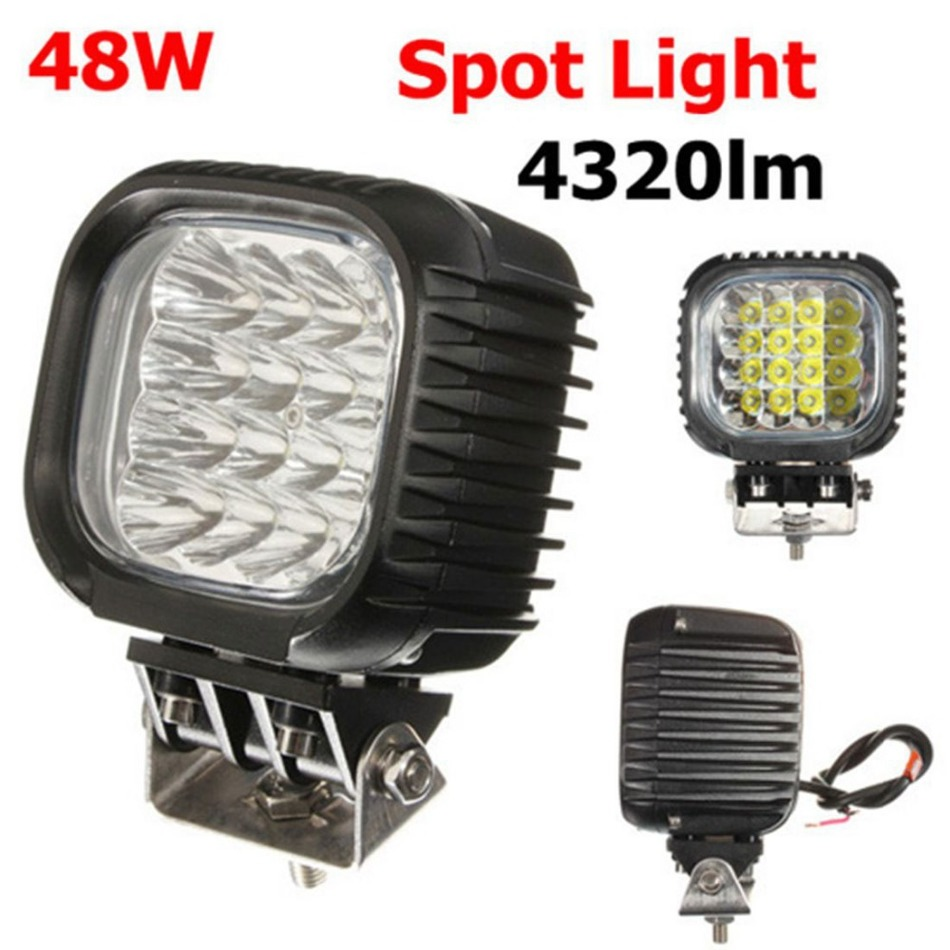 Black 48W 4320LM Waterproof &amp; Shockproof LED Car Work Light For Truck / Boat<br><br>Aliexpress