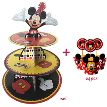 Mickey Mouse Cupcake Stand 24pcs Cupcake Wrapper Kids Birthday Party Supplies Baby Shower Party Favor Cupcake Decoration Set