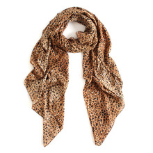 160*135cm classic leopard print polyester cotton voile scarves women spring large silk scarf beach cover up shawl high density