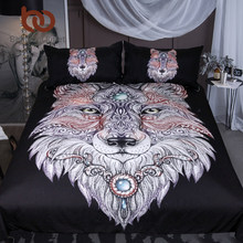 BeddingOutlet Tattoo Head Wolf Bedding Set Wild Beast Boys Duvet Cover Set Double Microfiber Animal Black Bedclothes Queen Size(China)