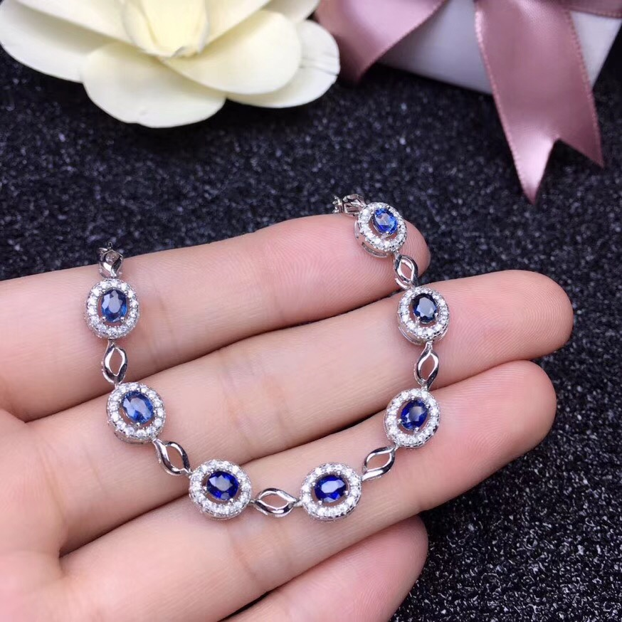 Natural sapphire bracelet, fashionable, 925 silver novel design, women's favorite jewelry