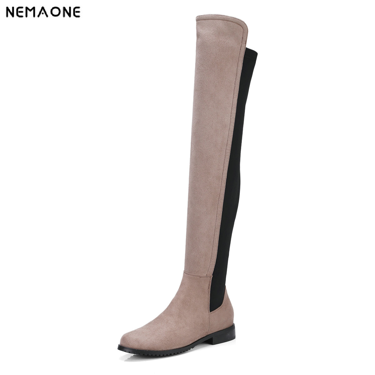 NEMAONE 2018 women over the knee high boots low heels shoes woman casual women boots large size 34-43<br>