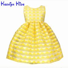 Kseniya Kids 2017 Summer Yellow Girl Dress Striped Princess Dresses For Girls Cotton Birthday Party Wedding Children's Dresses(China)