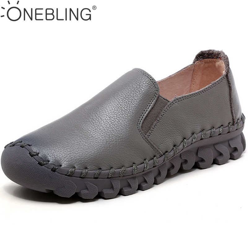 Genuine Leather Hand Sewing Shoes 2017 Spring Autumn Fashion Soft Flat Shoes With Elastic Band Women Lazy Shoes Casual Loafers<br>