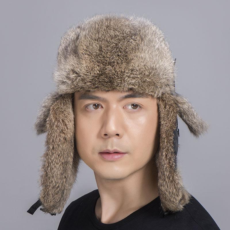 rabbit fur trapper hat tan black 4