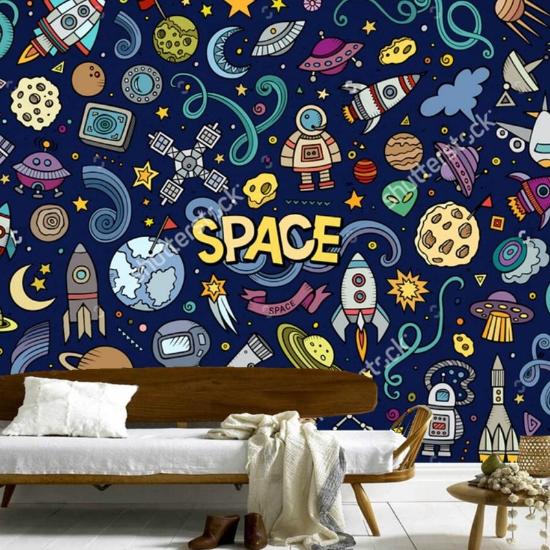 Custom childrens wallpaper,Hand-painted graffiti elements Space,3D cartoon murals for living room bedroom wall vinyl wallpaper<br>
