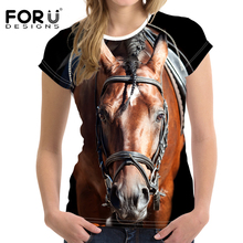 FORUDESIGNS Summer T Shirt Women Casual t-shirt Funny 3D Horse Women Crop Tops Brand Feminine Shirts Crossfit Tops Ropa Mujer(China)
