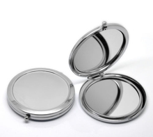 New Portable Folding Makeup Mirror Round Silver Compact pocket purse Mirror Case 10X #M070S