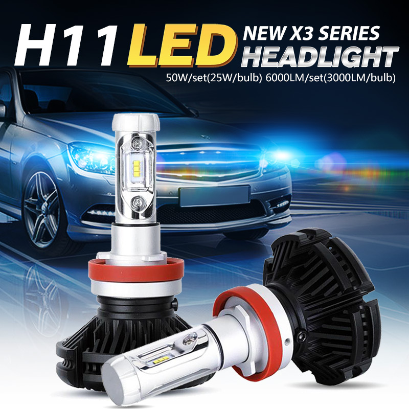 Oslamp Bright CREE Chips Car H11 LED Headlight Kits Auto LED Head Light Bulbs 50W/Pair All-in-one Fog Lamps Fanless 3000K 6500K<br><br>Aliexpress