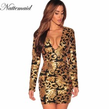 NATTEMAID Deep V Neck Long Sleeve Bodycon Sequin Dresses Sexy Golden Sequinned Pattern Floral Mini Club Dress Vestidos