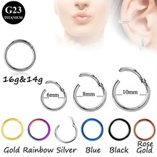 G23 Titanium Hinged Segment Stepum Clicker Nose Hoop Captive Rings 14g&16G Lip Nipple Tragus Cartilage Piercing Jewelry 8mm 10mm