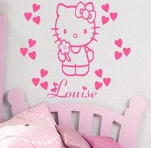 Hello Kitty Wall Stickers Names Personalized Girl Nursery Wall Decor Vinyl Removable Wall Stickers for Princess Bedroom ZA045(China)
