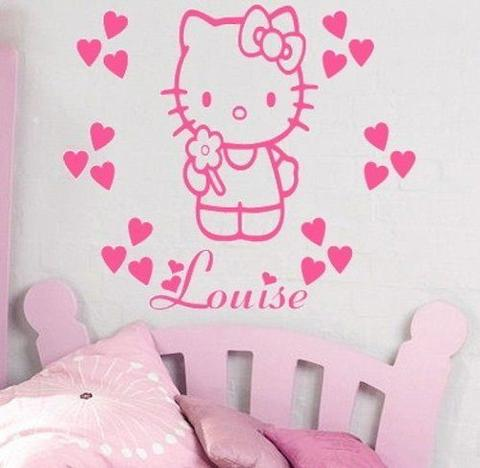 Hello Kitty Wall Stickers Names Personalized Girl Nursery Wall Decor Vinyl  Removable Wall Stickers For Princess Part 70