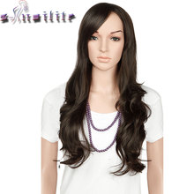 S-noilite 22 inches Nature Wave Synthetic Non Lace Front Wigs Soft Glueless Heat Resistant Fiber Full Head Wig For Women(China)
