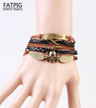 Fashion punk boho Jewelry Wrap Multilayer Leather Braided Rope Wristband Dream Skull Wings Infinity Bracelets & Bangles(China)