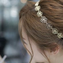 1 PCS Girls Womens Fashion Metal Chain Jewelry Hollow Rose Flower Elastic Headband Hair Band Accessories(China)