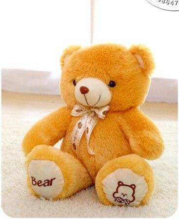 The lovely bow bear doll teddy bear hug bear plush toy doll birthday gift  light brown bear about 60cm<br>