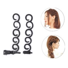 2pcs/set Flower Magic Hair Clip Braider Stylist Queue Twist Plait Hair Braid DIY Hairstyle Styling Accessories