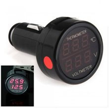 12V Mini Red/Blue 2 In 1 Car Auto Dual LED Digital Display Thermometer Voltmeter(China)