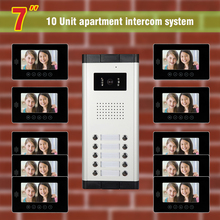 10 units apartment video intercom System video door phone intercom doorbell Kit for apartment visual intercom interphone
