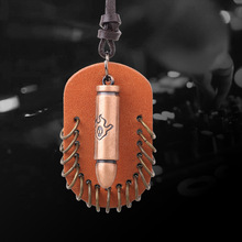 QN Personality Bullet Flame skeleton Head Male New Alloy Genuine Leather Rope Ornaments pendant Necklace
