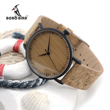 BOBO BIRD E19 New Arrival Top Quality Round Watches Bamboo Watch Face with Stainless Steel Case Cork Leather Bands with Gift Box