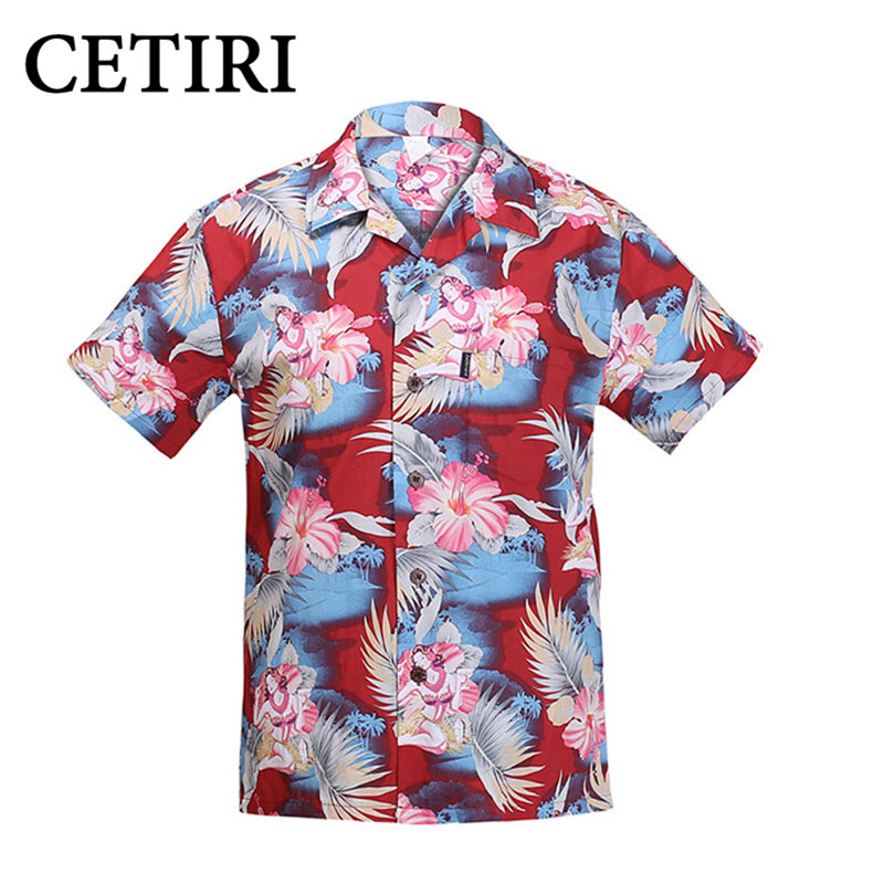 Men's Hawaiian Shirts cocktail girl jade Cotton Large Plus Size Shirt Fancy Dress Shirts For Men chemise homme camisa masculina
