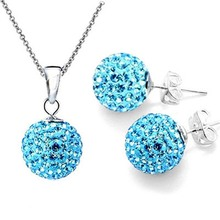 Hot Set of Shamballa jewelry Necklace Pendant Earring Stud 10mm sky blue bead Crystal stone Clay Ball for women wedding jewelry