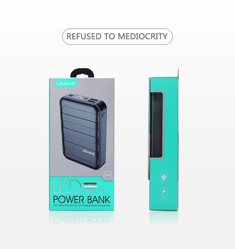 Power Bank 000mAh USAMS LCD Portable PowerBank External Battery Dual USB Charger For Xiaomi iPhone 7 6 6S 5 Mobile Phones Tab 26