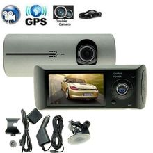 "Dual Camera Car DVR R300 with GPS and 3D G-Sensor 2.7"" TFT LCD X3000 FHD 1080P Cam Video Camcorder Cycle Recording"