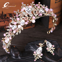 Pink Crown With Earrings Wedding Tiara Vintage Bridal Hair Accessories Hair Jewelry Alloy Tiaras Beauty Royal Crowns Headbands