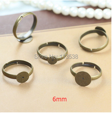 free shipping 100Pcs 6MM Brass Pad Ring Base, Ring Base Finding, Adjustable Ring Base, antique bronze plated jewelry findings