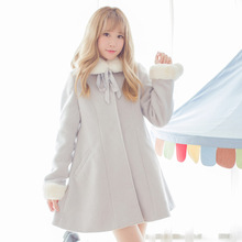 Japanese Style Mori Girl Coat Kawaii Long Sleeve Female Coat with Fur Cuffs and Collar by Dolly Delly(China)