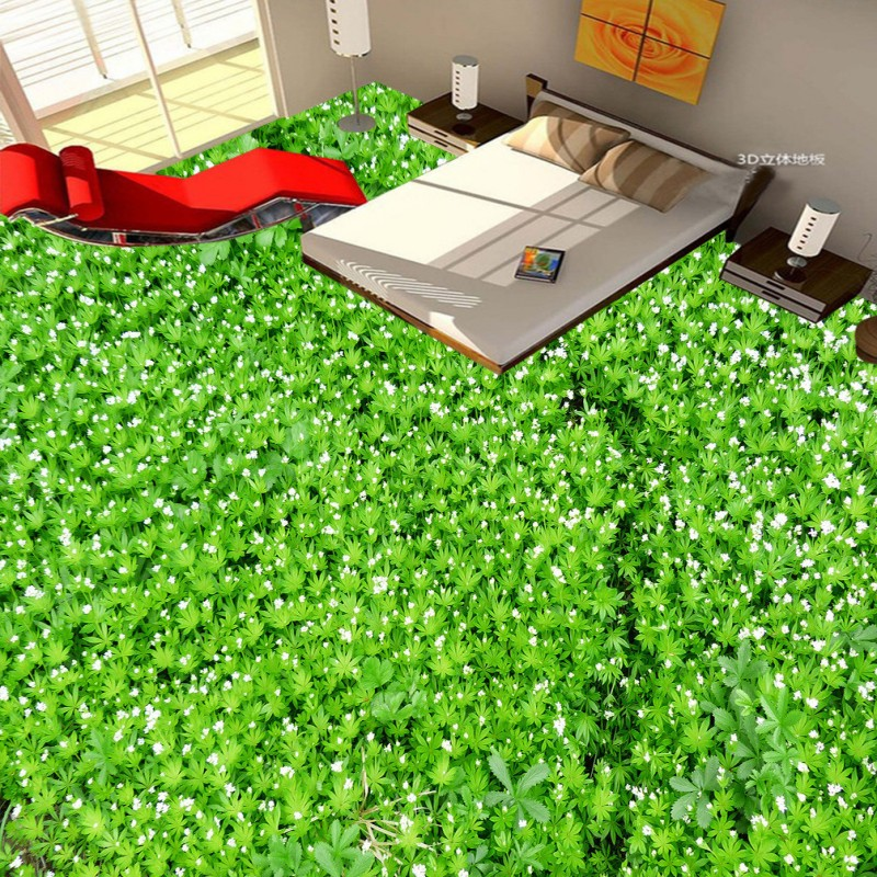 Free Shipping green white flowers grass 3D floor painting custom thickened bathroom mural wallpaper<br>
