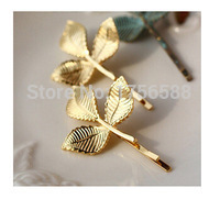 2017 fashion retro atmosphere golden leaf hairpin crystal shop for women jewelry wholesale free shipping